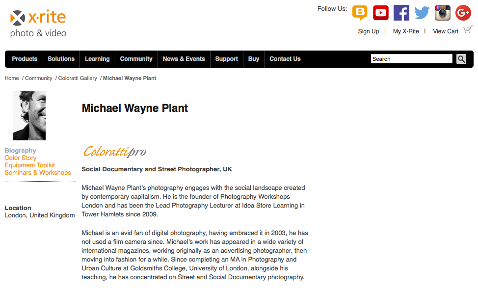 Michael Wayne Plant featured as an X-Rite ColorattiPro photographer