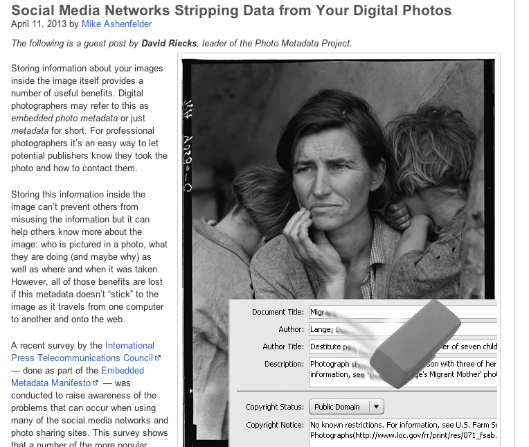 Social Media Networks Stripping Data from Your Digital Photos