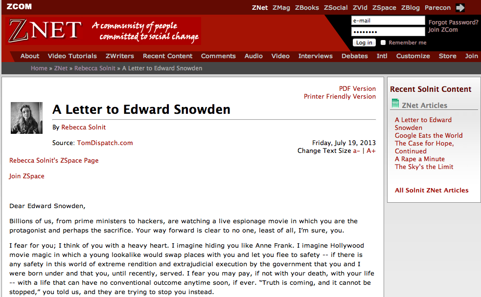 Rebecca Solnit writes a letter to Edward Snowden