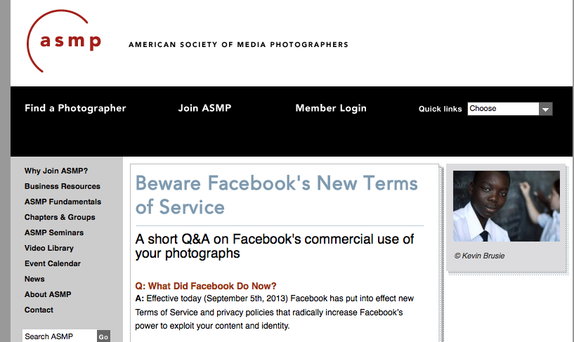 Facebook's Terms of Service change Sept 2013