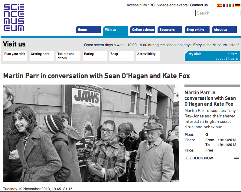 Martin Parr in conversation with Sean O'Hagan and Kate Fox at the Media Space, Science Museum