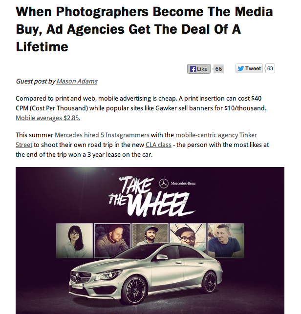 Photographers become the advertising media
